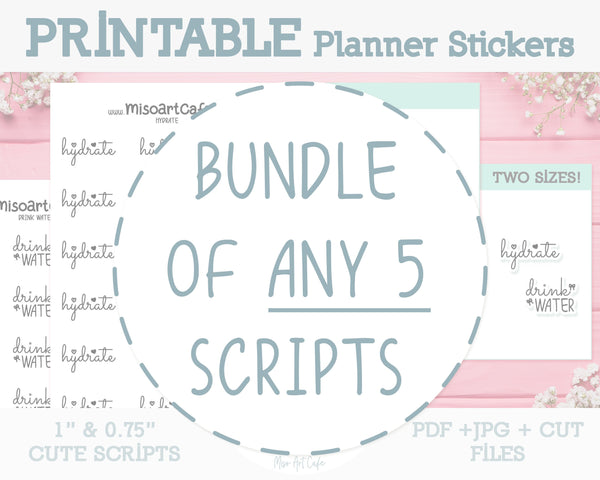 BUNDLE of ANY 5 Printable Foil-Ready Scripts - Typography Planner Stickers - Miso Art Cafe