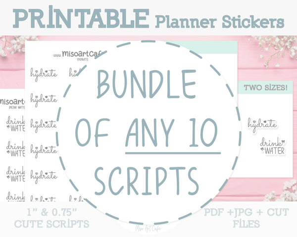 BUNDLE of ANY 10 Printable Foil-Ready Scripts - Typography Planner Stickers - Miso Art Cafe