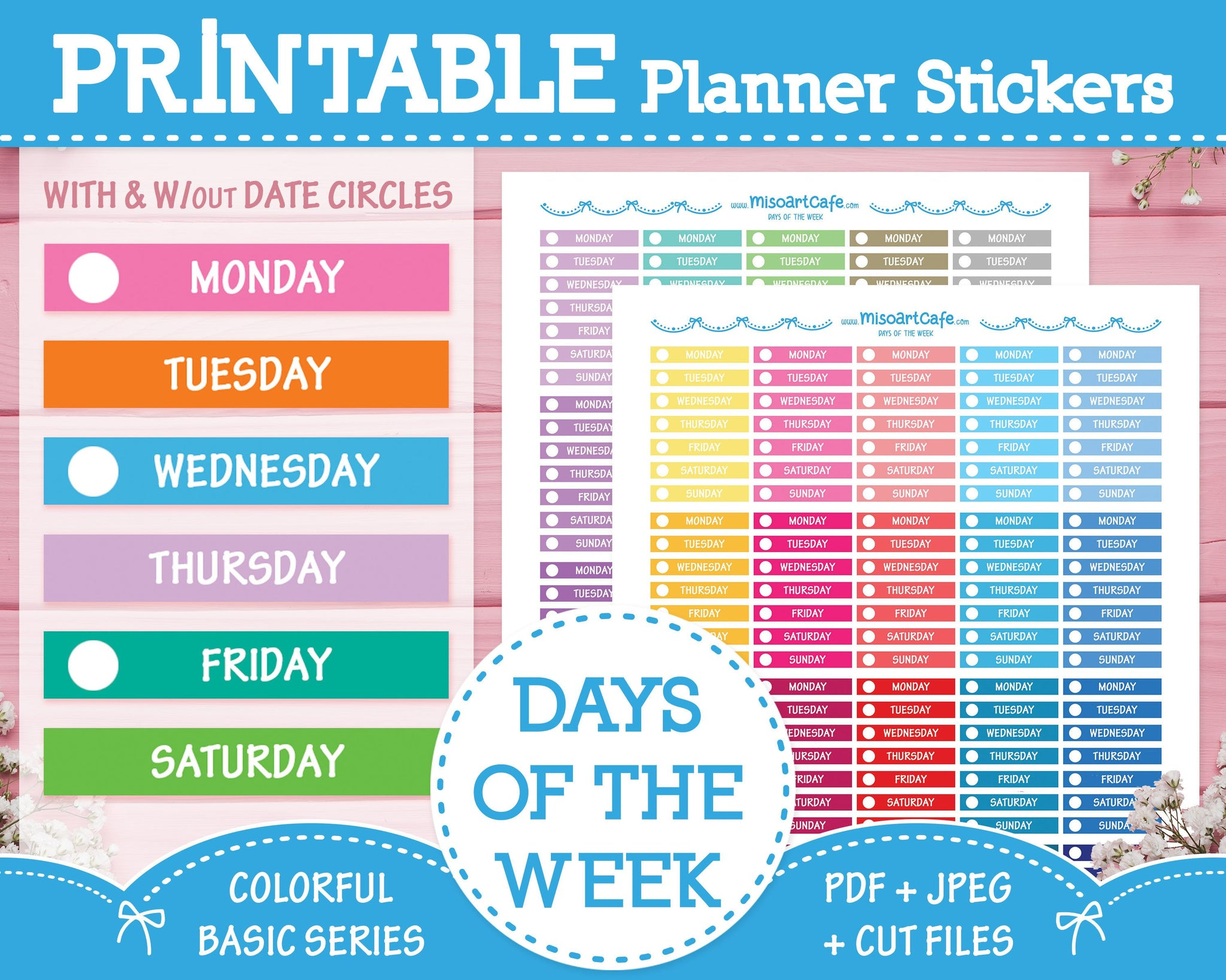 Printable Days of the Week - Colorful Basic Planner Stickers - Miso Art Cafe