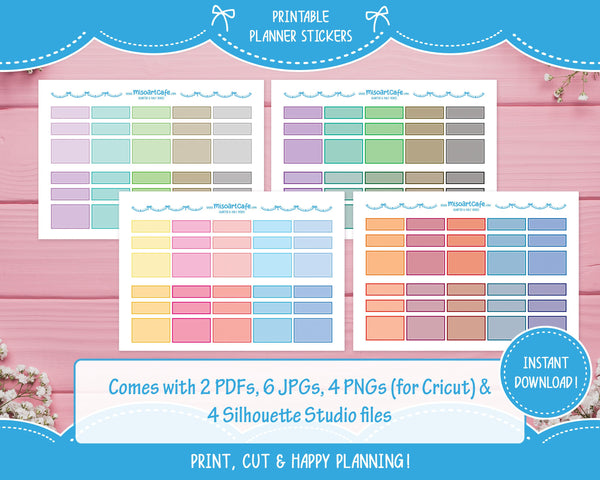 Printable Quarter & Half Functional Boxes - Colorful Basic Planner Stickers - Miso Art Cafe