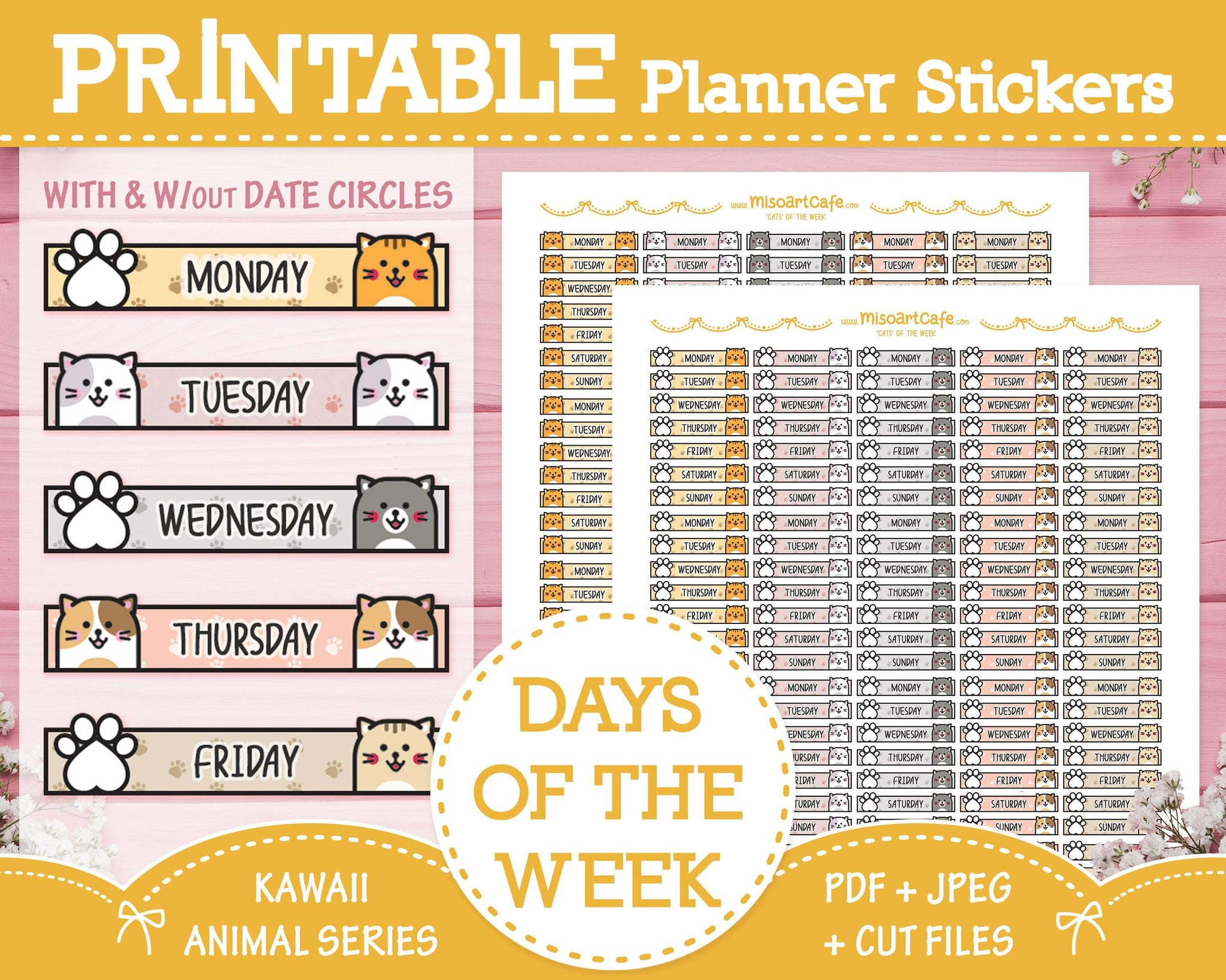 Printable Days of the Week (Cat) - Kawaii Animal Planner Stickers - Miso Art Cafe