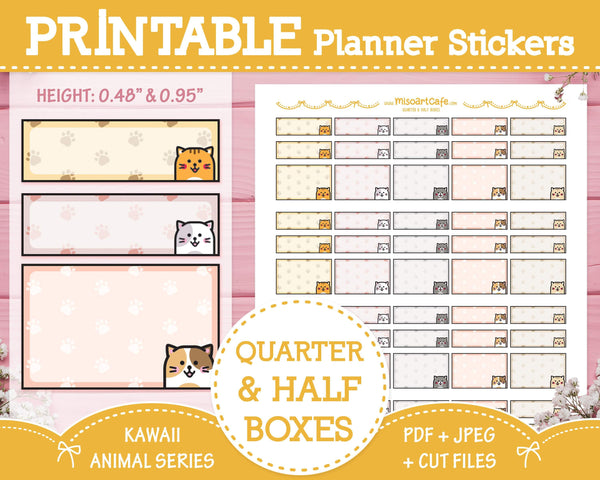 Printable Quarter & Half Functional Boxes (Cat) - Kawaii Animal Planner Stickers - Miso Art Cafe