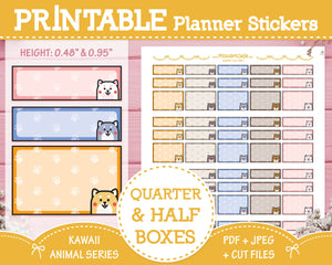 Printable Quarter & Half Functional Boxes (Shiba Inu) - Kawaii Animal Planner Stickers - Miso Art Cafe
