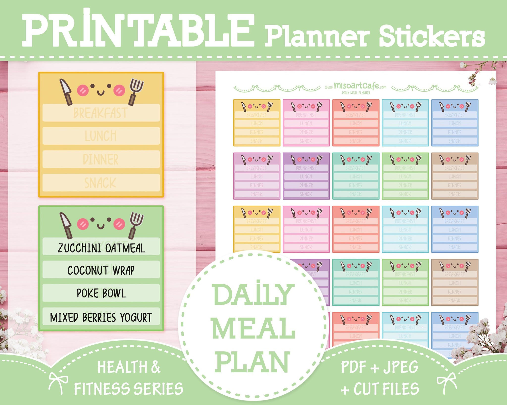 Printable Meal Planner - Health & Fitness Planner Stickers - Miso Art Cafe