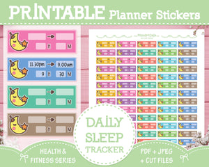 Printable Daily Sleep Tracker - Health & Fitness Planner Stickers - Miso Art Cafe