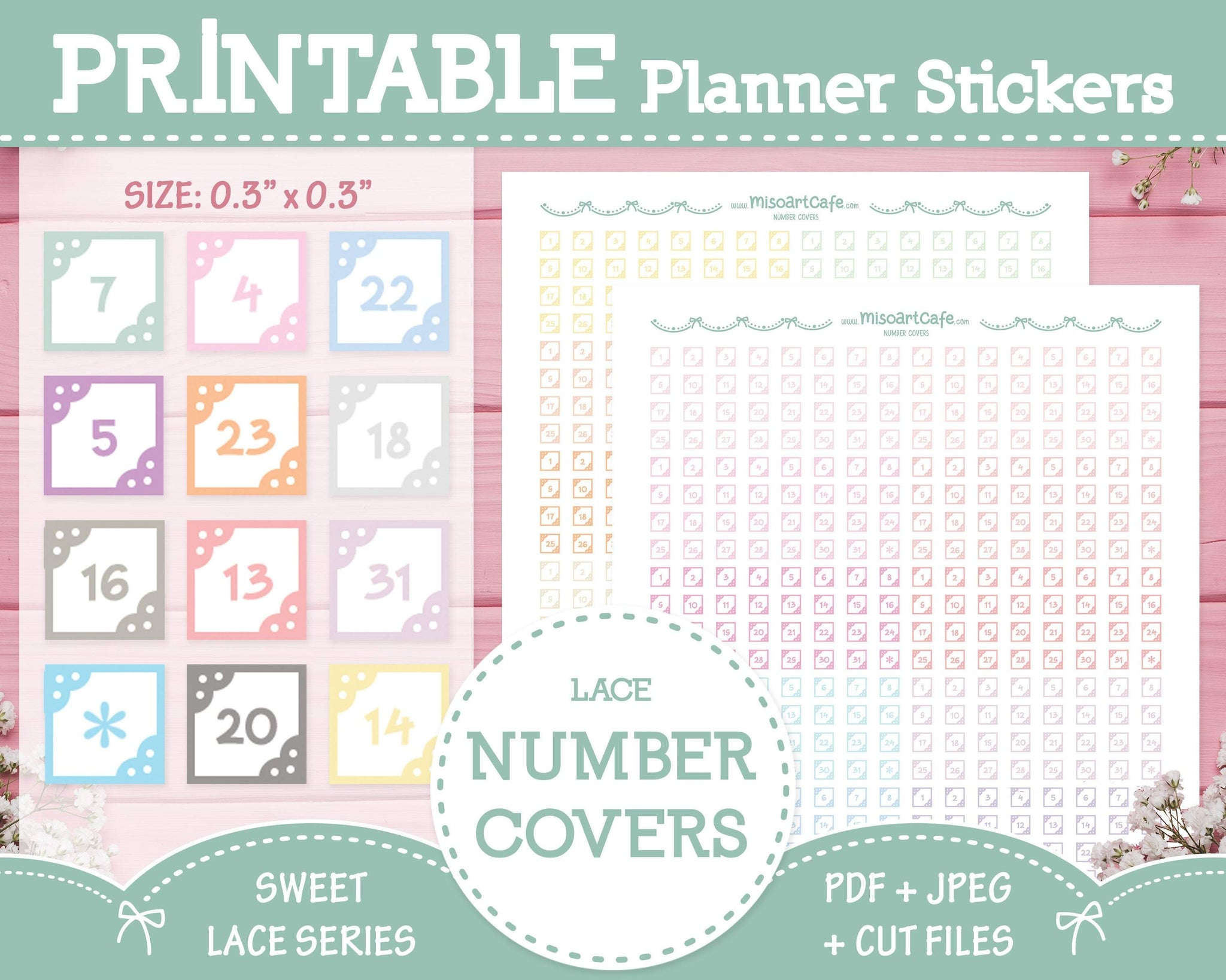 Printable Number Covers (Lace) - Sweet Lace Planner Stickers - Miso Art Cafe