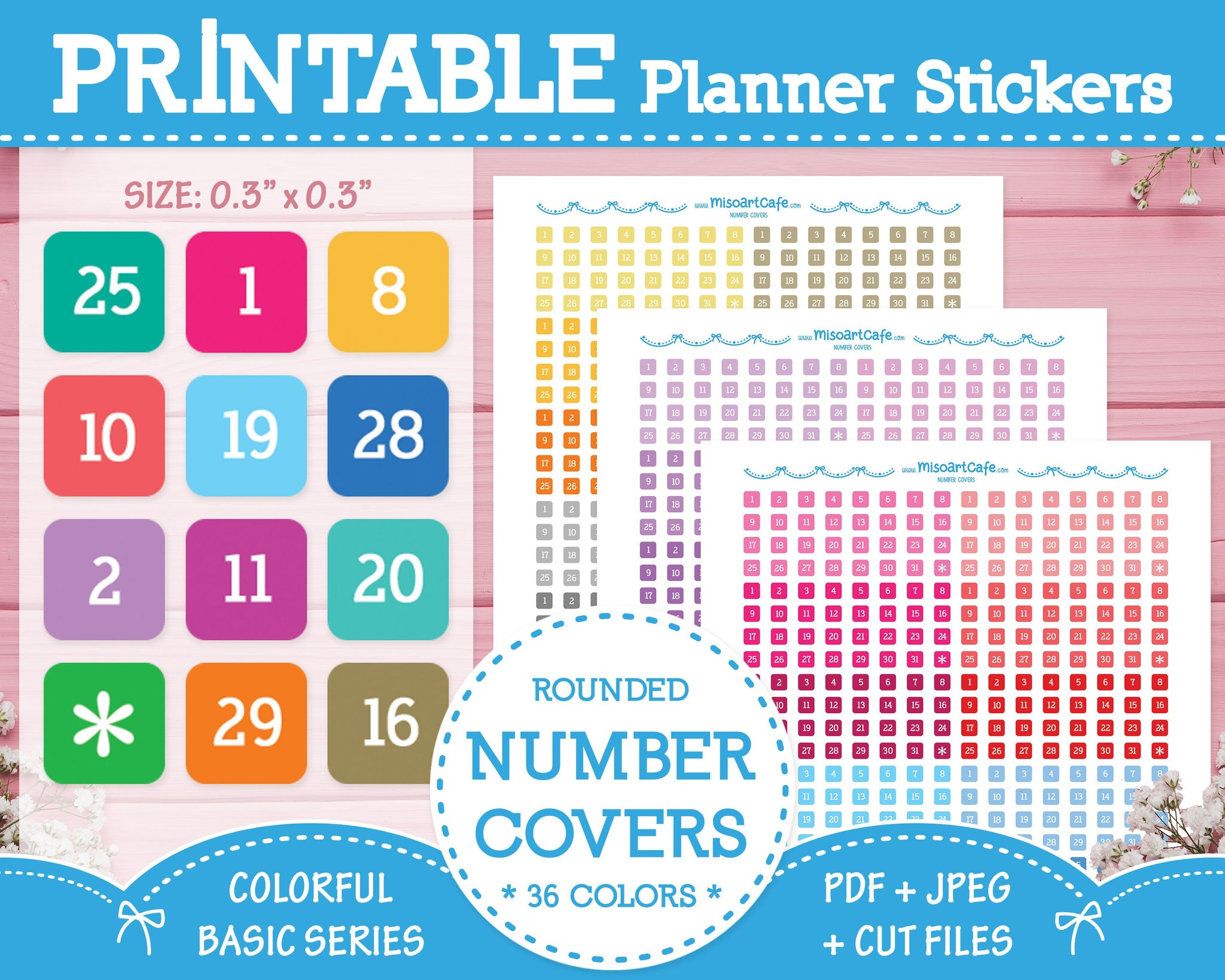 Printable Number Covers - Colorful Basic Planner Stickers - Miso Art Cafe