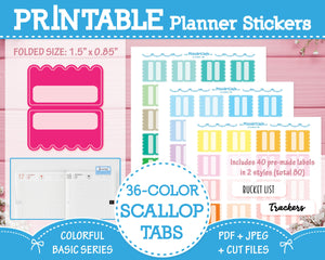 Printable 36 Colorway Planner Tabs - Colorful Basic Planner Stickers
