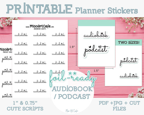 Printable Audiobook / Podcast Foil-Ready Scripts - Typography Planner Stickers