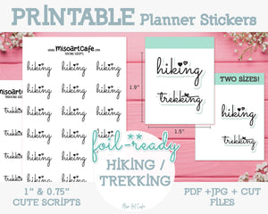 Printable Hiking / Trekking Foil-Ready Scripts - Typography Planner Stickers