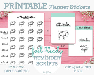 Printable Reminder Foil-Ready Scripts - Typography Planner Stickers - Miso Art Cafe