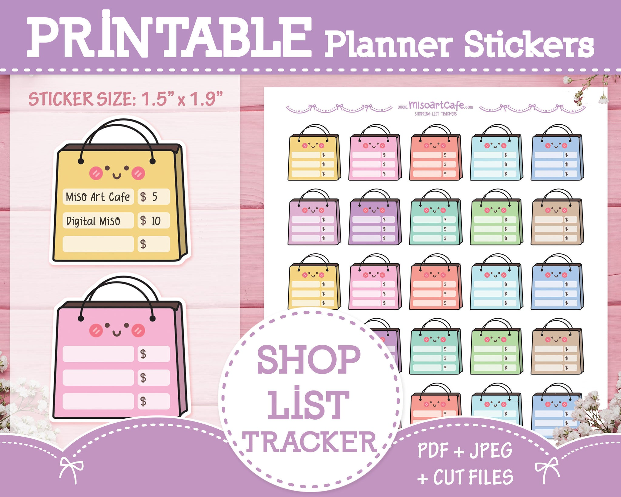 Printable Shopping List Trackers - Monthly Planner Stickers