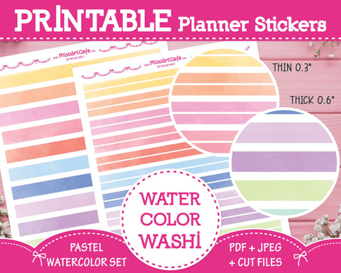 Printable Watercolor Pattern Washi Tape - Pastel Watercolor Planner Stickers - Miso Art Cafe
