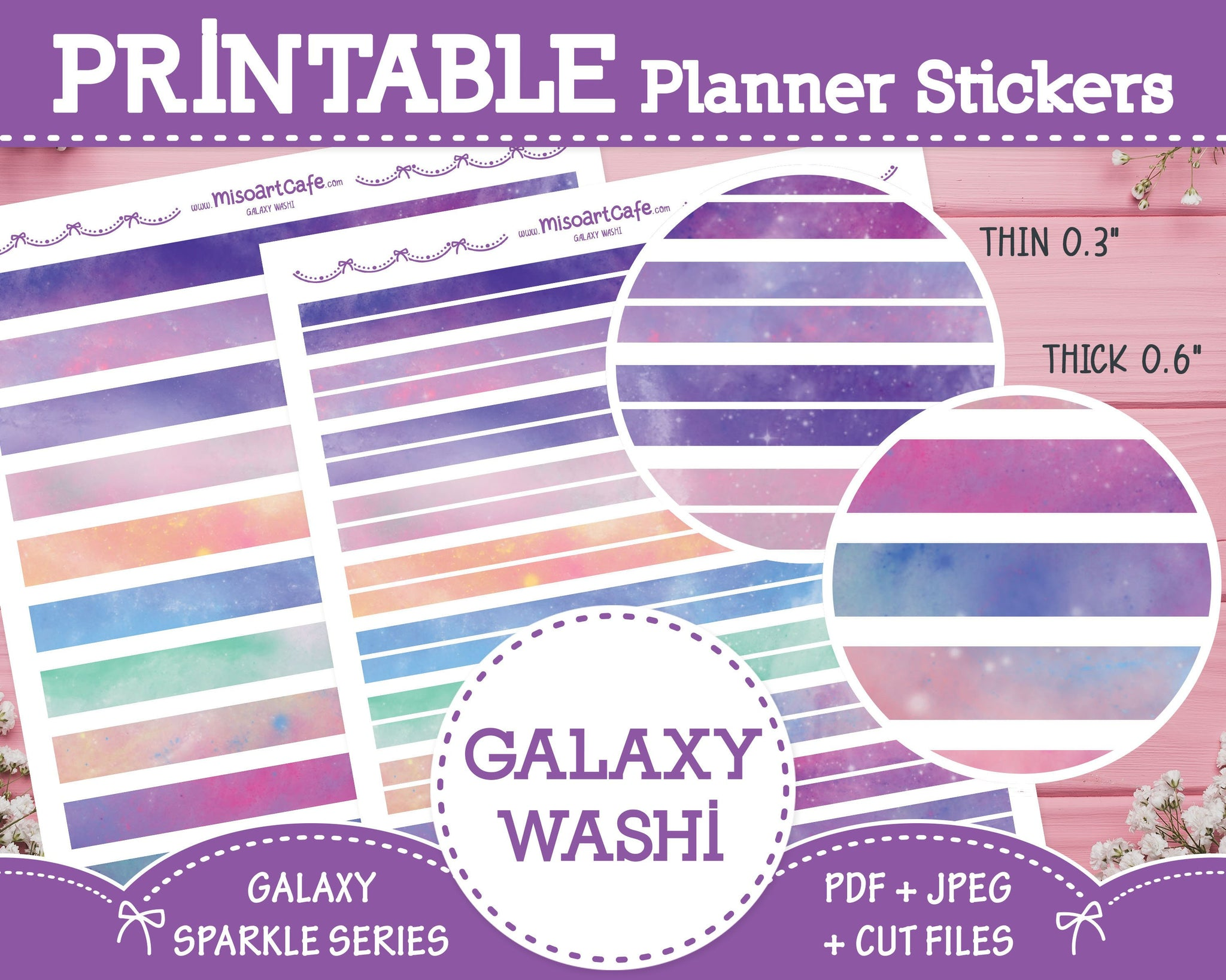 Printable Galaxy Pattern Washi Tape - Galaxy Sparkle Planner Stickers - Miso Art Cafe