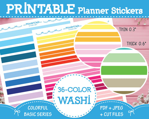 Printable 36 Colorway Washi Tape - Colorful Basic Planner Stickers - Miso Art Cafe