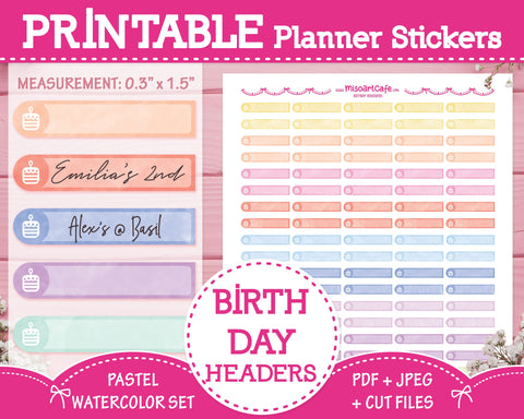 Printable Birthday Headers - Pastel Watercolor Planner Stickers