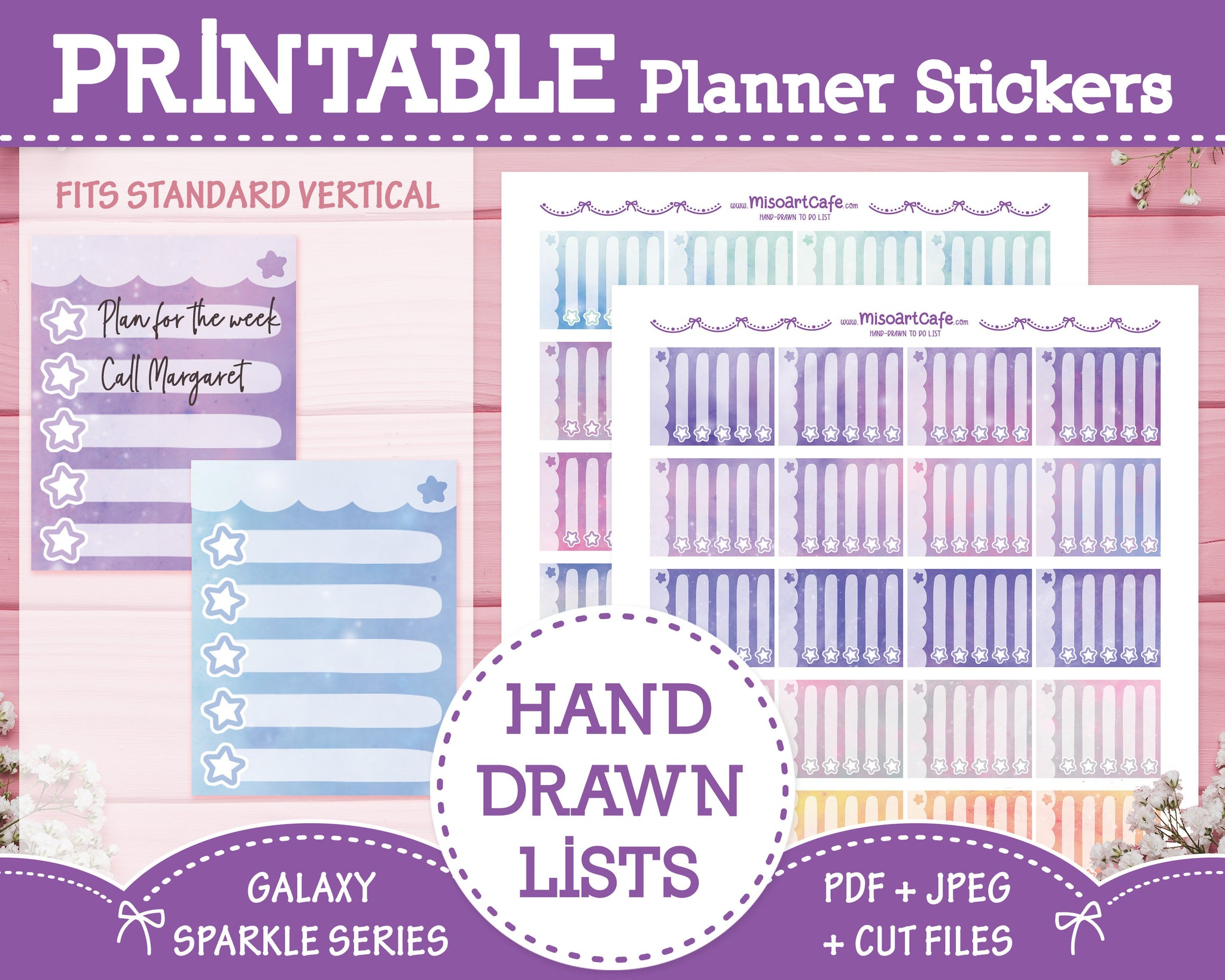 Printable Hand Drawn To Do Lists - Galaxy Sparkle Planner Stickers