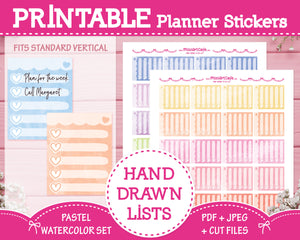 Printable Hand Drawn To Do Lists - Pastel Watercolor Planner Stickers
