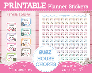 Printable Bubz' House Chores - Character Planner Stickers