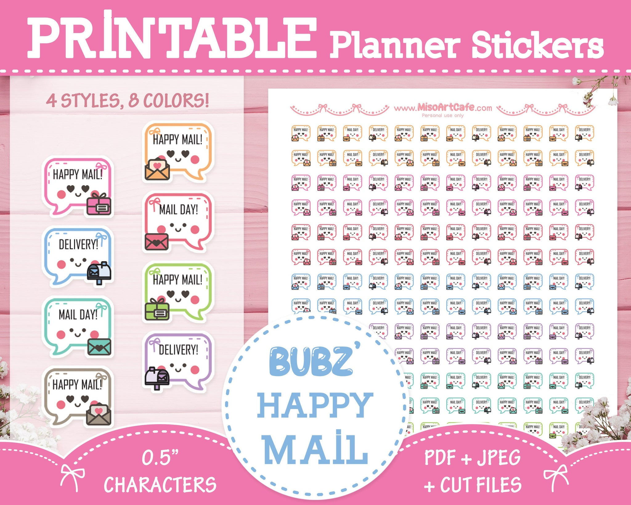 Printable Bubz' Happy Mail - Character Planner Stickers