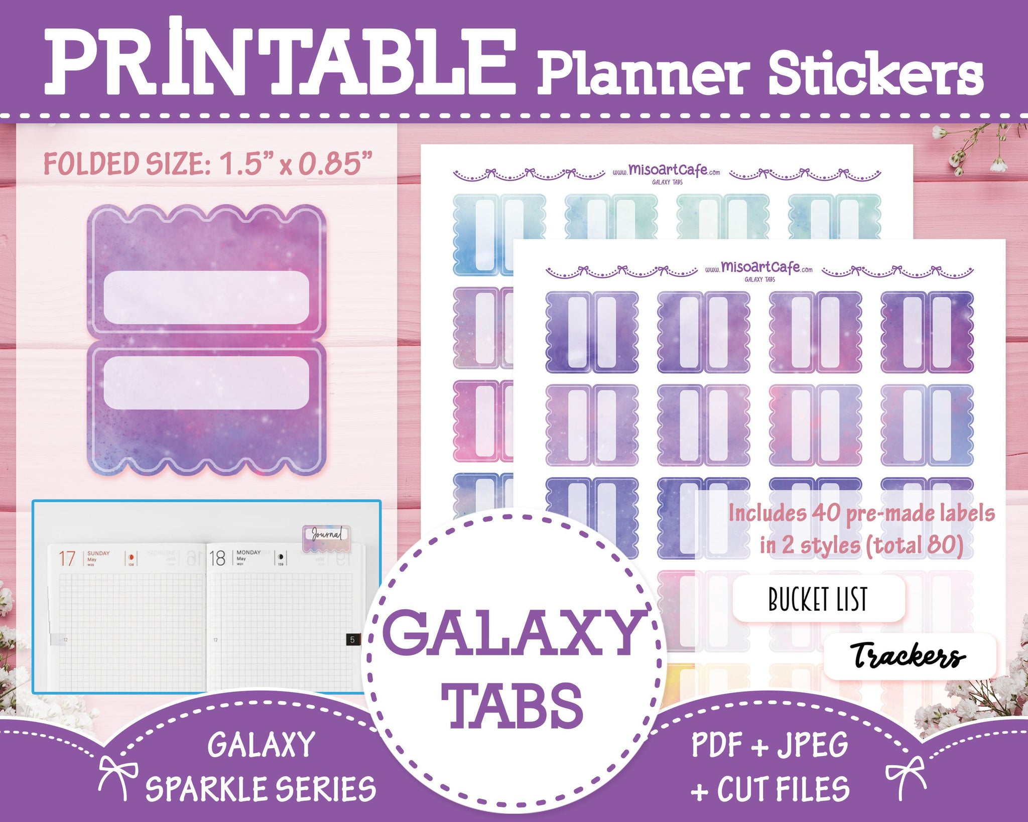 Printable Galaxy Planner Tabs - Galaxy Sparkle Planner Stickers
