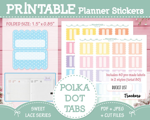 Printable Polka Dot Planner Tabs - Sweet Lace Planner Stickers