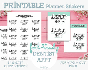 Printable Dentist Appt Foil-Ready Scripts - Typography Planner Stickers