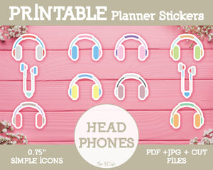 Printable Headphones Icons - Simple Vector Icon Planner Stickers