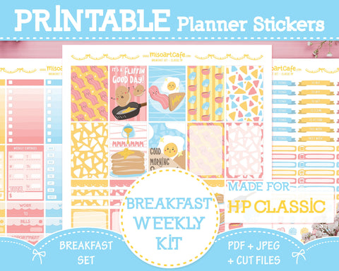 Printable Breakfast Set Weekly Kit - Classic Happy Planner