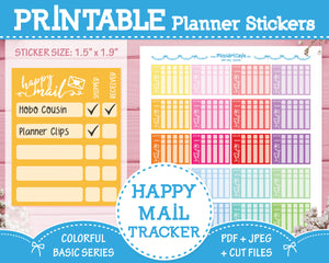 Printable Happy Mail Trackers - Colorful Basic Planner Stickers