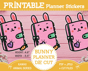 "Printable 4.5"" Bunny Planner Die Cut Stickers"