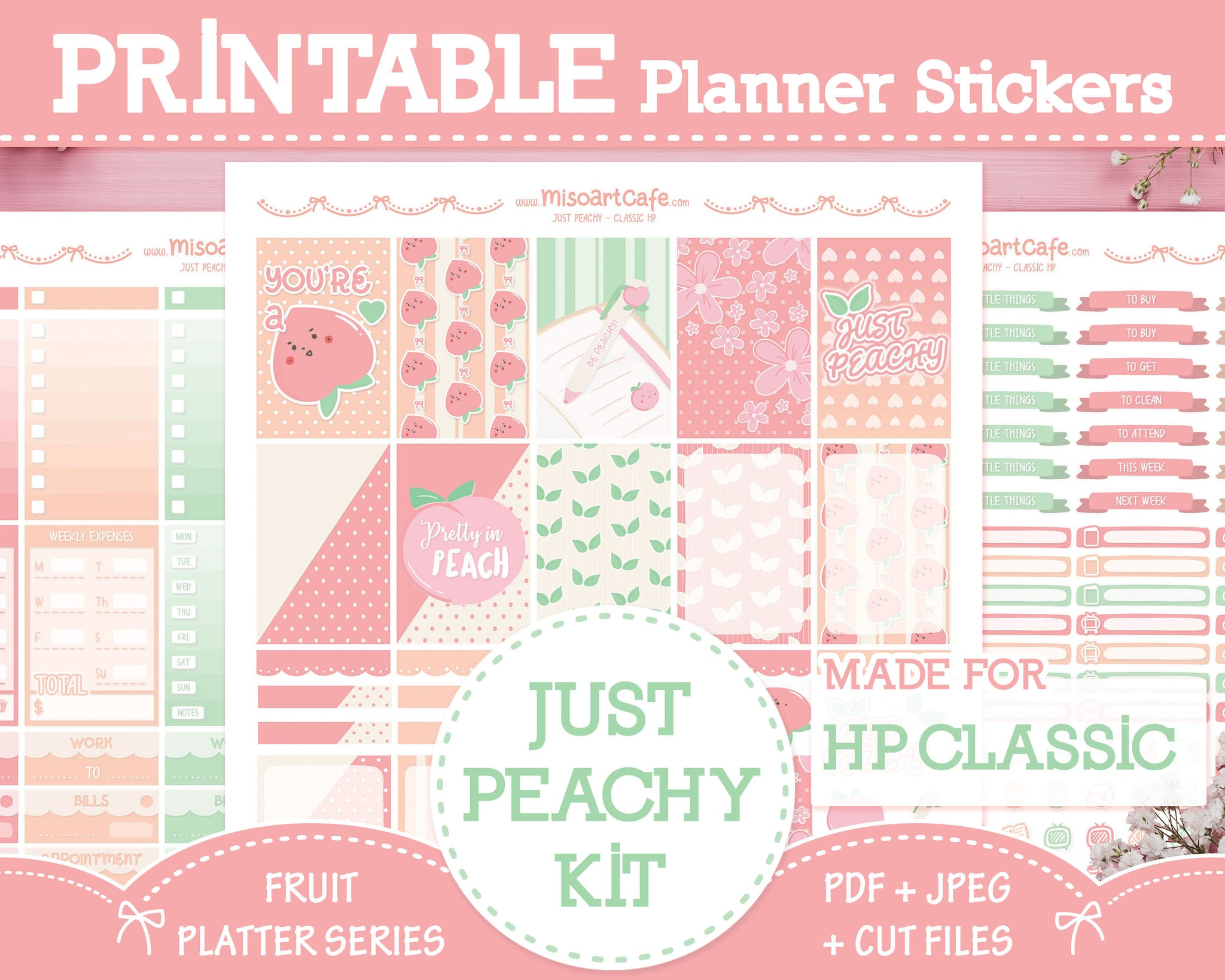 Printable Just Peachy Weekly Kit - Classic Happy Planner
