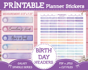 Printable Birthday Headers - Galaxy Sparkle Planner Stickers
