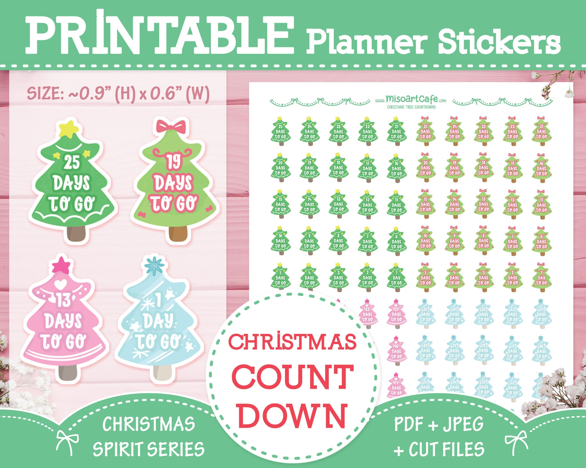 Printable Christmas Countdowns - Christmas Spirit Planner Stickers
