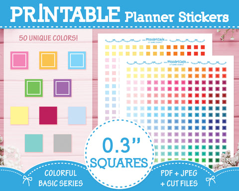"Printable 0.3"" Squares (50 Colors) - Colorful Basic Planner Stickers"