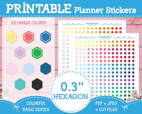 "Printable 0.3"" Hexagons (50 Colors) - Colorful Basic Planner Stickers"