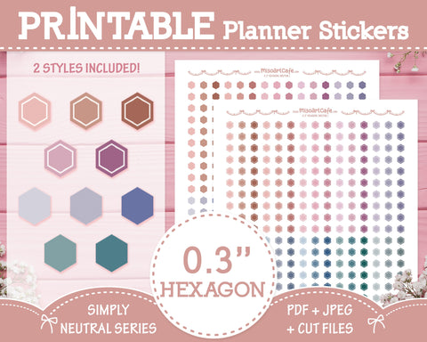 "Printable 0.3"" Hexagons - Simply Neutral Planner Stickers"