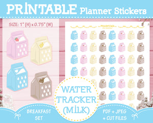 Printable Water Tracker (Milk) - Breakfast Set Planner Stickers