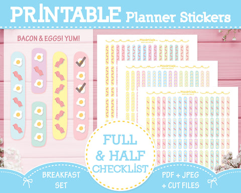 Printable Checklists (Bacon & Eggs) - Breakfast Set Planner Stickers