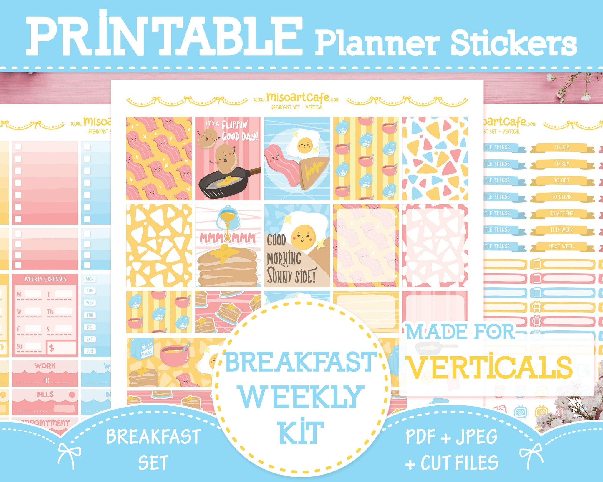 Printable Breakfast Set Weekly Kit - Standard Vertical