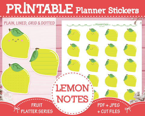 Printable Zesty Lemon Notes - Fruit Platter Planner Stickers