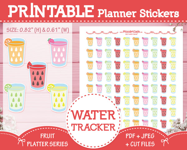 Printable Water Trackers - Fruit Platter Planner Stickers
