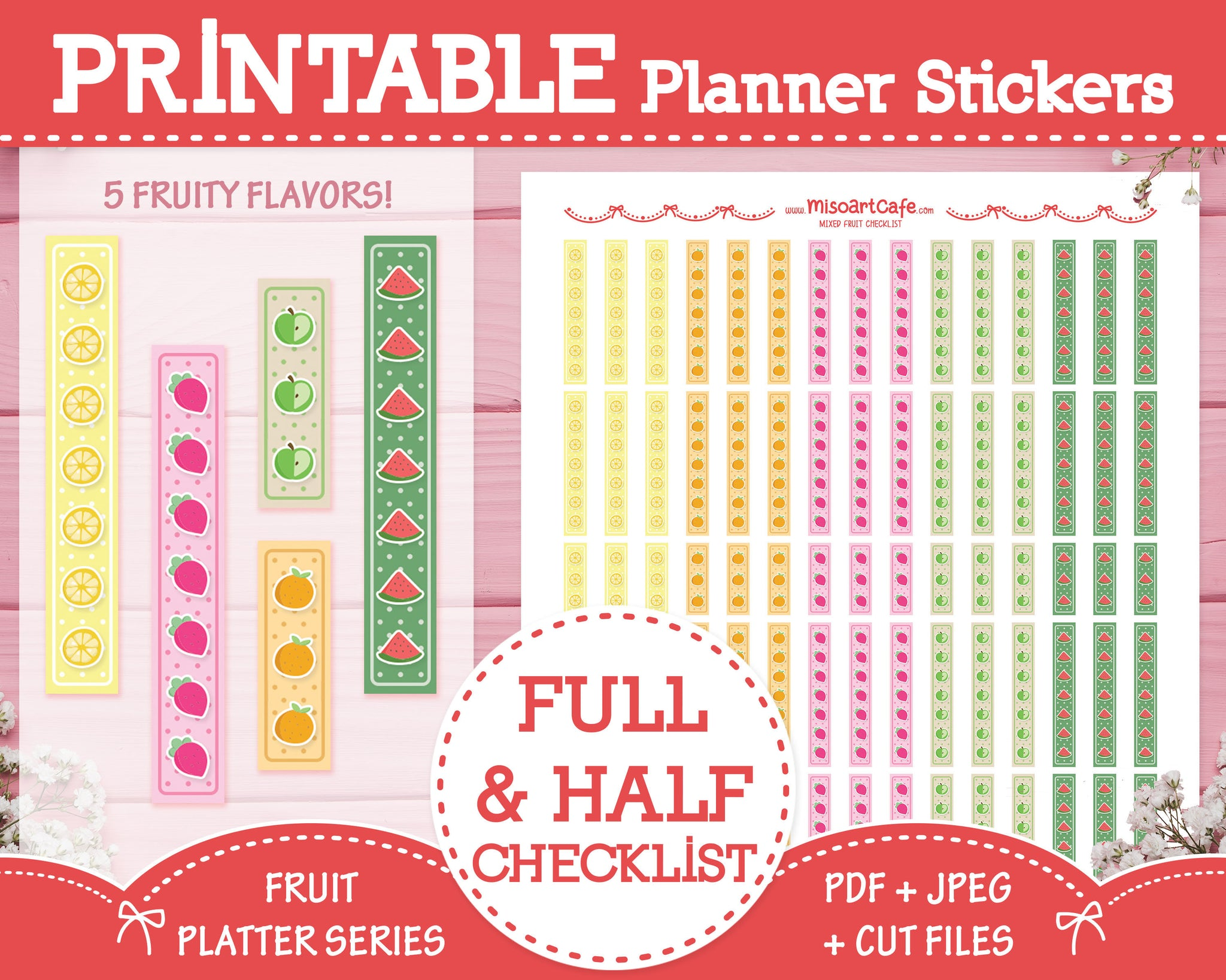 Printable Checklists - Fruit Platter Planner Stickers