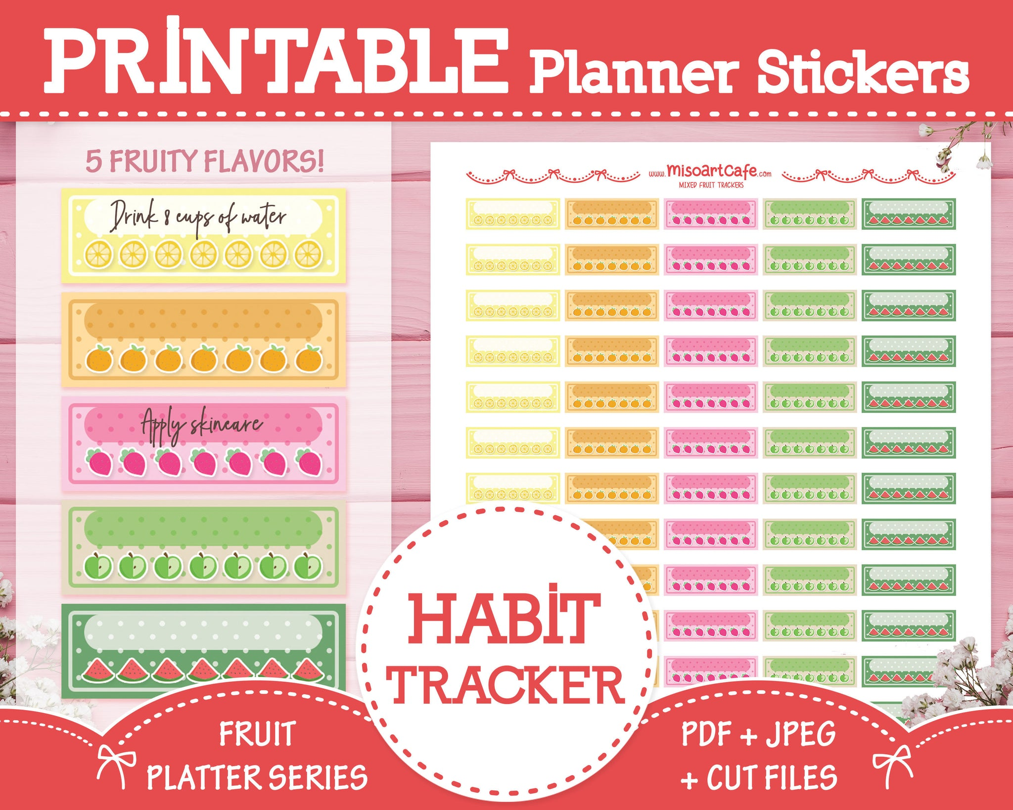 Printable Weekly Habit Trackers - Fruit Platter Planner Stickers