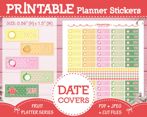 Printable Date Covers - Fruit Platter Planner Stickers