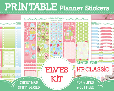 Printable Christmas Elves Weekly Kit - Classic Happy Planner
