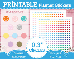 "Printable 0.3"" Circles (50 Colors) - Colorful Basic Planner Stickers"