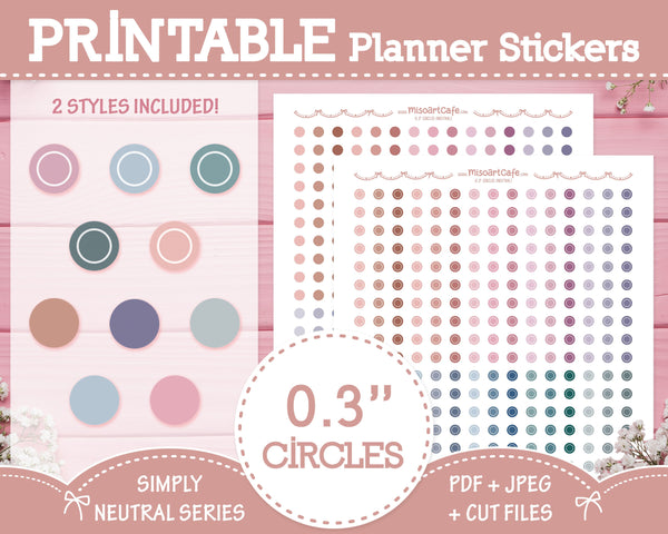 "Printable 0.3"" Circles - Simply Neutral Planner Stickers"