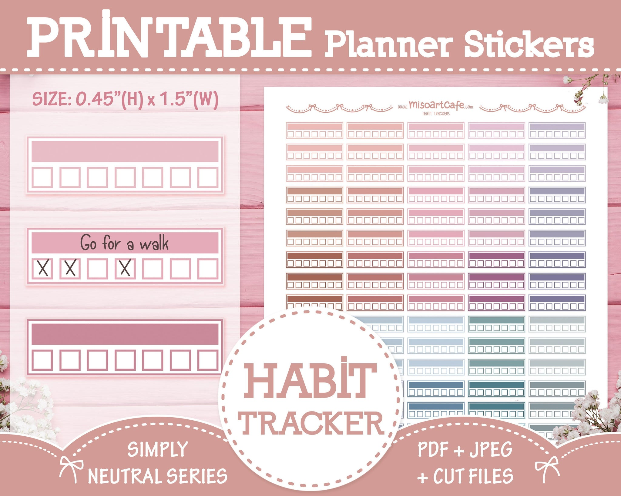 Printable Weekly Habit Trackers - Simply Neutral Planner Stickers
