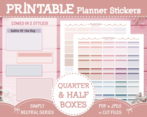Printable Quarter & Half Functional Boxes - Simply Neutral Planner Stickers